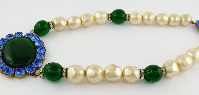 Yves Saint Laurent YSL Vintage Emerald Sapphire Stone Pearl Necklace For Sale 4