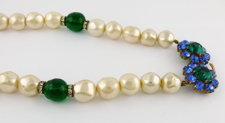 Yves Saint Laurent YSL Vintage Emerald Sapphire Stone Pearl Necklace For Sale 5