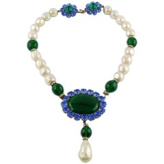 Yves Saint Laurent YSL Vintage Emerald Sapphire Stone Pearl Necklace