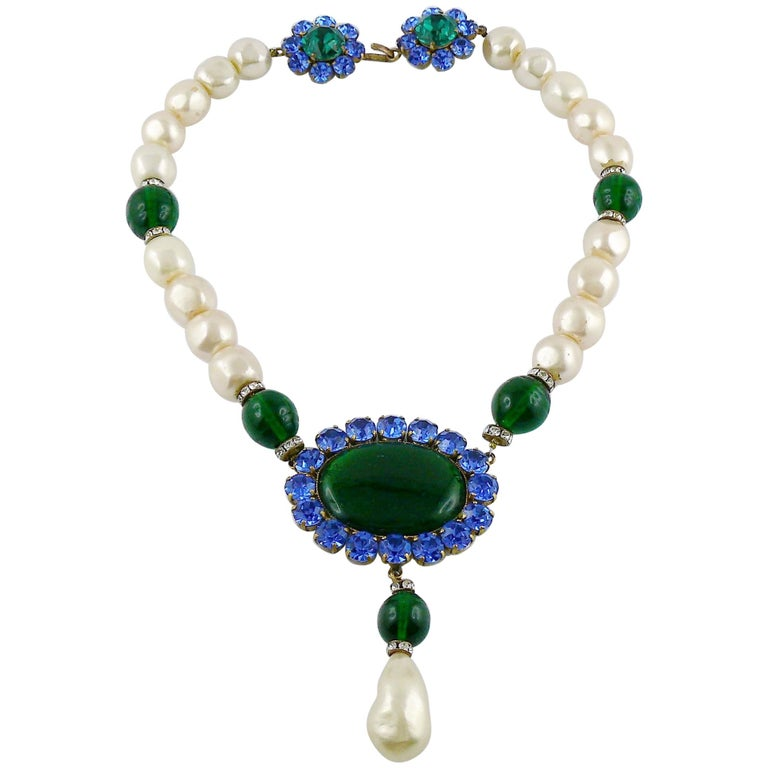Yves Saint Laurent YSL Vintage Emerald Sapphire Stone Pearl Necklace For Sale
