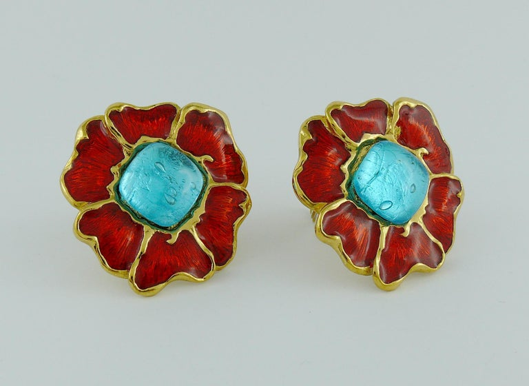 Yves Saint Laurent YSL Vintage Enamel Floral Clip On Earrings In Excellent Condition For Sale In Nice, FR