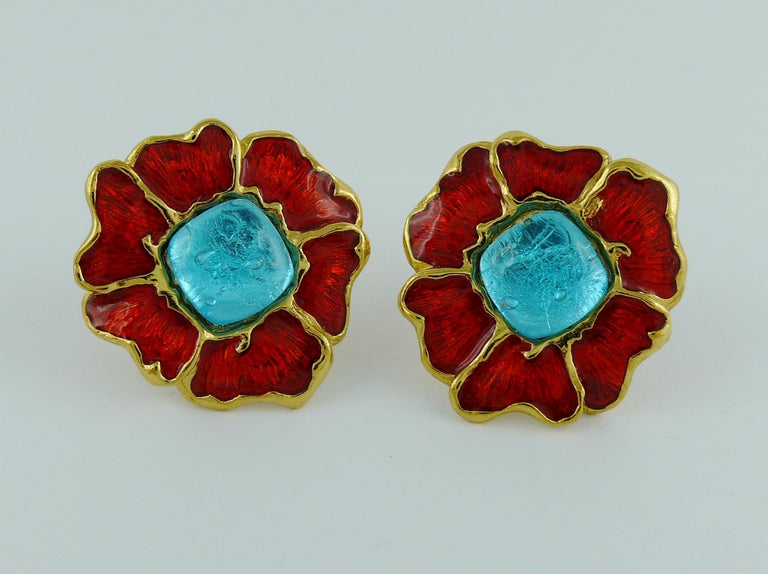 Women's Yves Saint Laurent YSL Vintage Enamel Floral Clip On Earrings For Sale