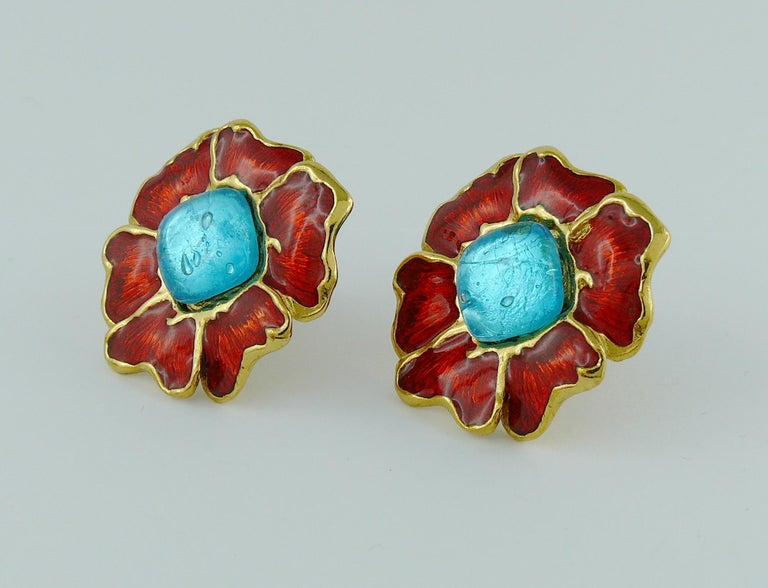 Yves Saint Laurent YSL Vintage Enamel Floral Clip On Earrings For Sale 1