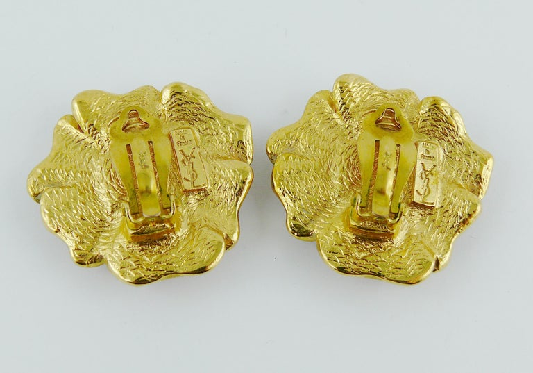 Yves Saint Laurent YSL Vintage Enamel Floral Clip On Earrings For Sale 2