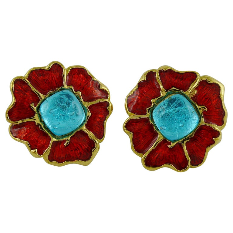 Yves Saint Laurent YSL Vintage Enamel Floral Clip On Earrings For Sale