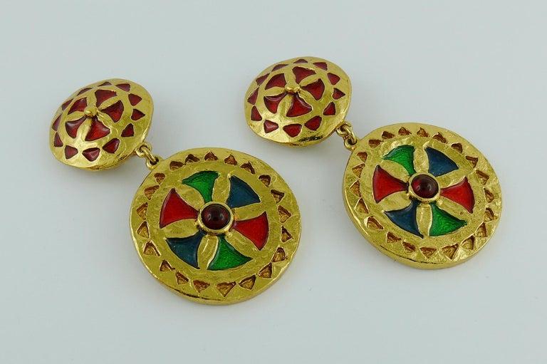 Yves Saint Laurent YSL Vintage Enamel Shields Dangling Earrings In Excellent Condition For Sale In Nice, FR