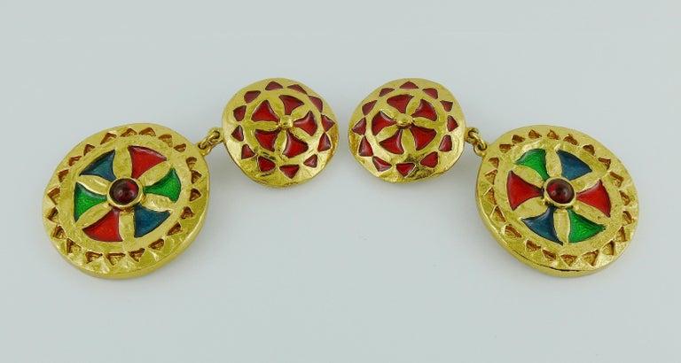 Women's Yves Saint Laurent YSL Vintage Enamel Shields Dangling Earrings For Sale