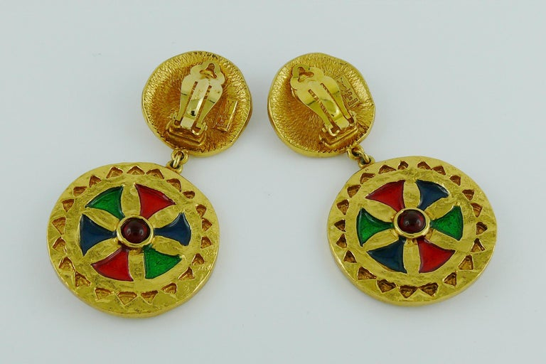 Yves Saint Laurent YSL Vintage Enamel Shields Dangling Earrings For Sale 2