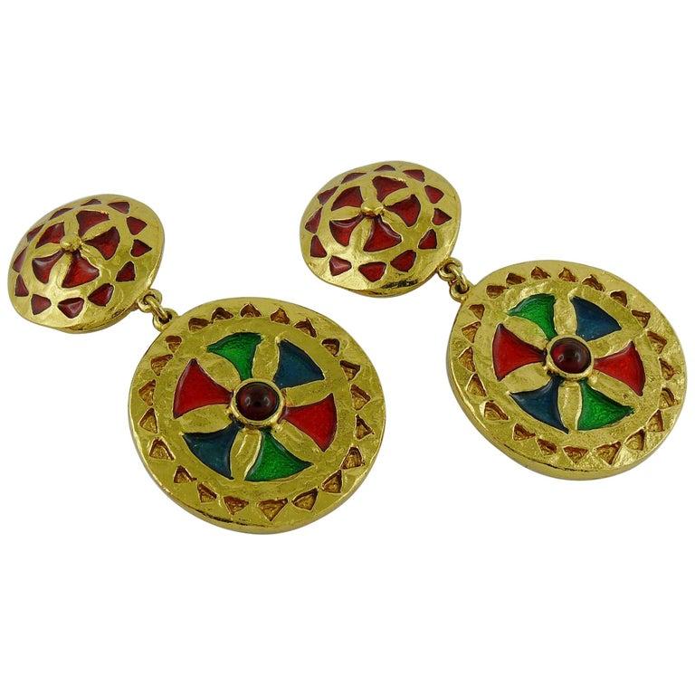 Yves Saint Laurent YSL Vintage Enamel Shields Dangling Earrings For Sale