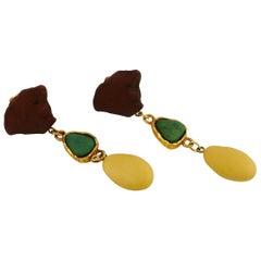 Yves Saint Laurent YSL Vintage Faux Stones Dangling Earrings