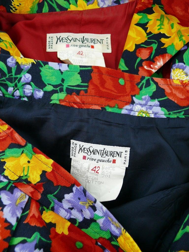 Yves Saint Laurent YSL Vintage Floral Print Skirt Suit Spring/Summer 1992 For Sale 5