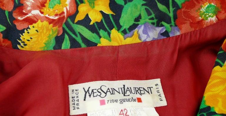 Yves Saint Laurent YSL Vintage Floral Print Skirt Suit Spring/Summer 1992 For Sale 6