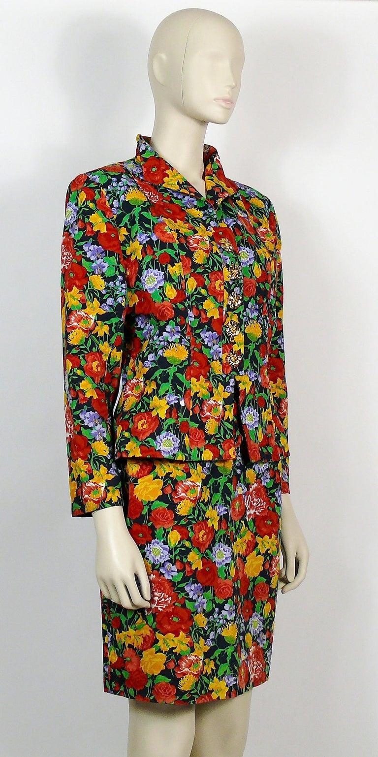 Brown Yves Saint Laurent YSL Vintage Floral Print Skirt Suit Spring/Summer 1992 For Sale