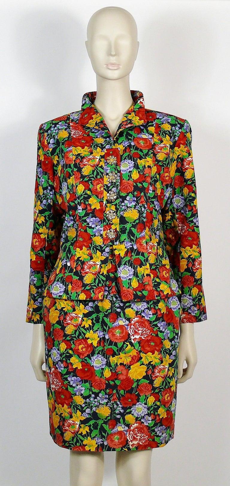 Women's Yves Saint Laurent YSL Vintage Floral Print Skirt Suit Spring/Summer 1992 For Sale
