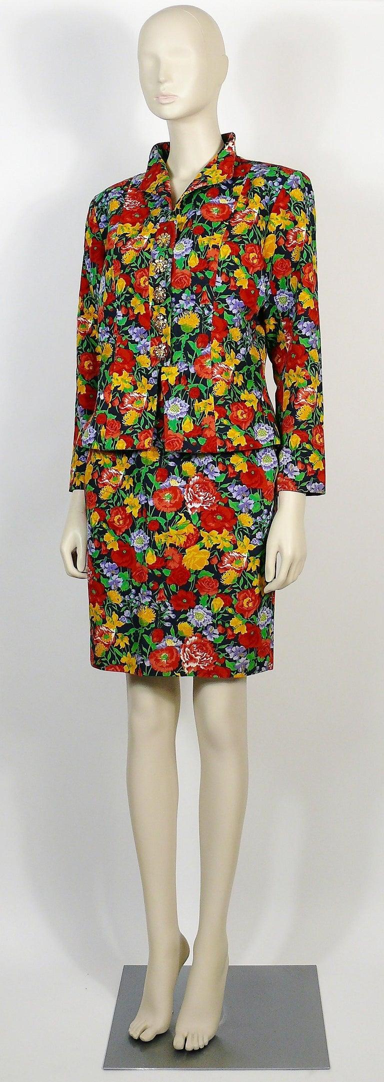 Yves Saint Laurent YSL Vintage Floral Print Skirt Suit Spring/Summer 1992 For Sale 1