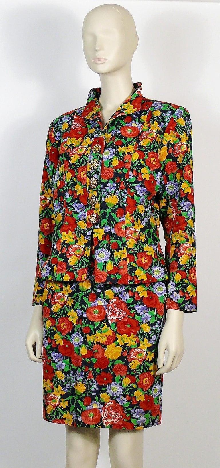 Yves Saint Laurent YSL Vintage Floral Print Skirt Suit Spring/Summer 1992 For Sale 2