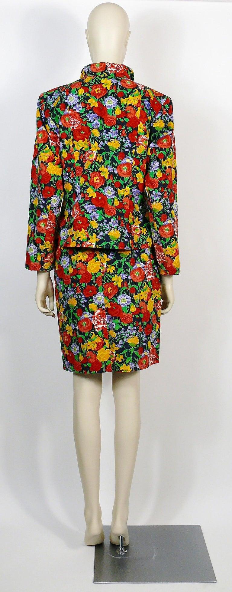 Yves Saint Laurent YSL Vintage Floral Print Skirt Suit Spring/Summer 1992 For Sale 3