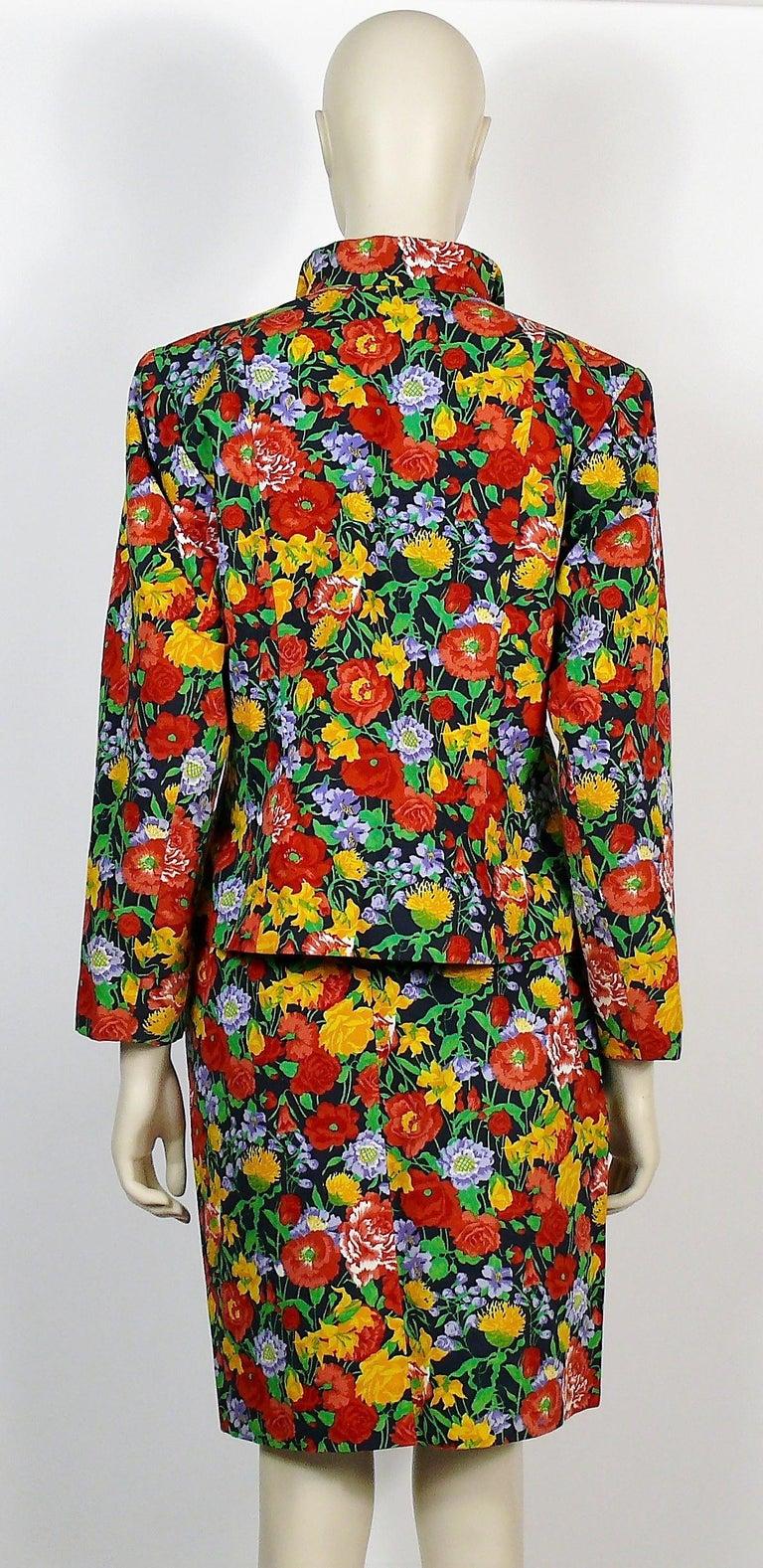 Yves Saint Laurent YSL Vintage Floral Print Skirt Suit Spring/Summer 1992 For Sale 4
