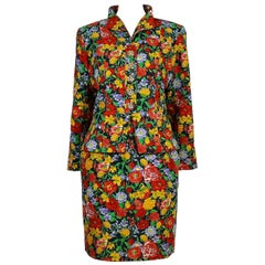 Yves Saint Laurent YSL Vintage Floral Print Skirt Suit Spring/Summer 1992