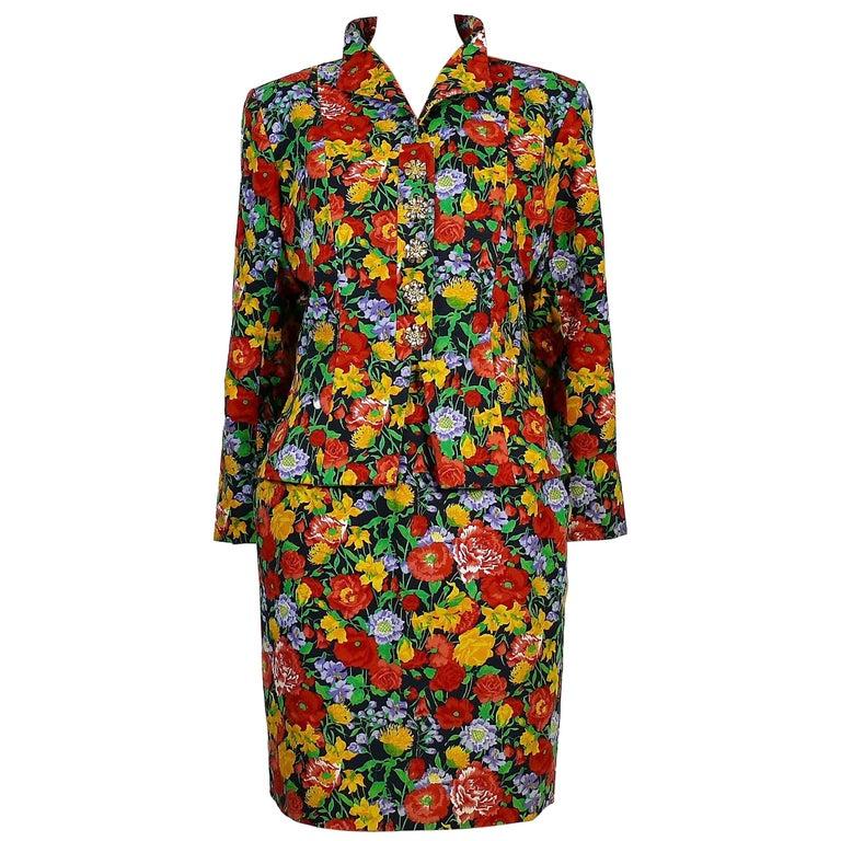 Yves Saint Laurent YSL Vintage Floral Print Skirt Suit Spring/Summer 1992 For Sale
