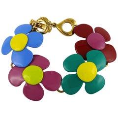 Yves Saint Laurent YSL Vintage Flower Power Enamel Bracelet