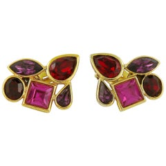 Yves Saint Laurent YSL Vintage Geometric Crystals Clip-On Earrings