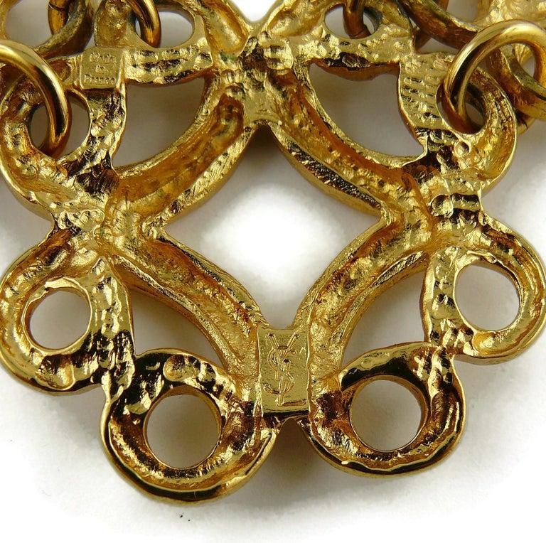 Yves Saint Laurent YSL Vintage Gold Toned Arabesque Charm Link Necklace For Sale 8