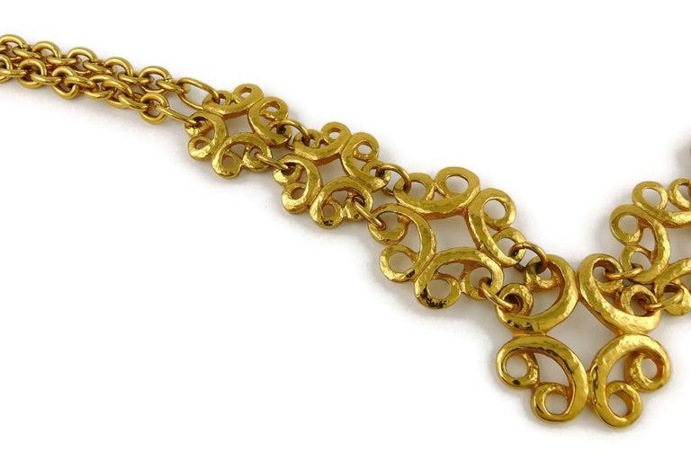 Yves Saint Laurent YSL Vintage Gold Toned Arabesque Charm Link Necklace For Sale 1