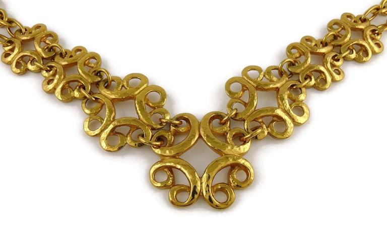 Yves Saint Laurent YSL Vintage Gold Toned Arabesque Charm Link Necklace For Sale 2