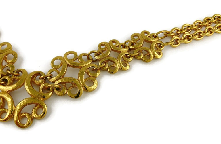 Yves Saint Laurent YSL Vintage Gold Toned Arabesque Charm Link Necklace For Sale 3