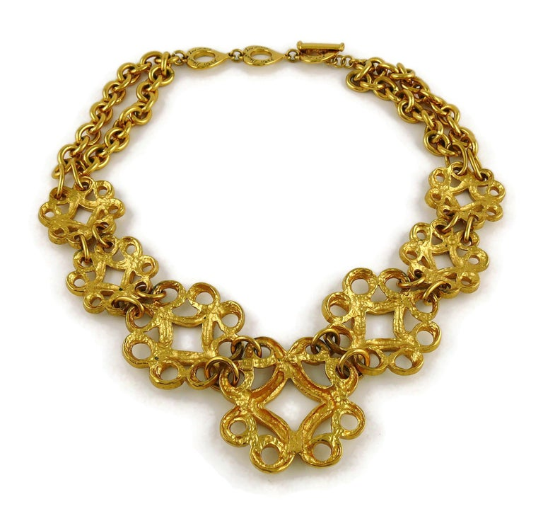 Yves Saint Laurent YSL Vintage Gold Toned Arabesque Charm Link Necklace For Sale 6
