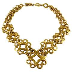 Yves Saint Laurent YSL Vintage Gold Toned Arabesque Charm Link Necklace