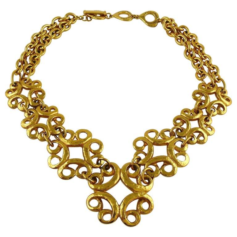 Yves Saint Laurent YSL Vintage Gold Toned Arabesque Charm Link Necklace For Sale