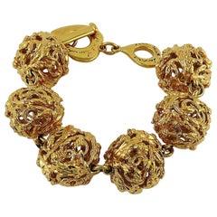 Yves Saint Laurent YSL Vintage Gold Toned Ball Link Bracelet