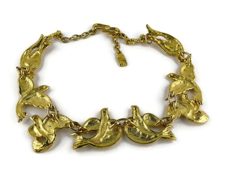 Yves Saint Laurent YSL Vintage Gold Toned Bird Necklace For Sale 6