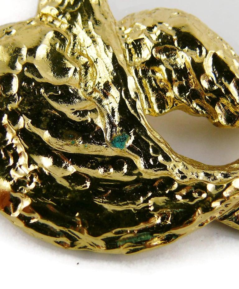 Yves Saint Laurent YSL Vintage Gold Toned Bird Necklace For Sale 9