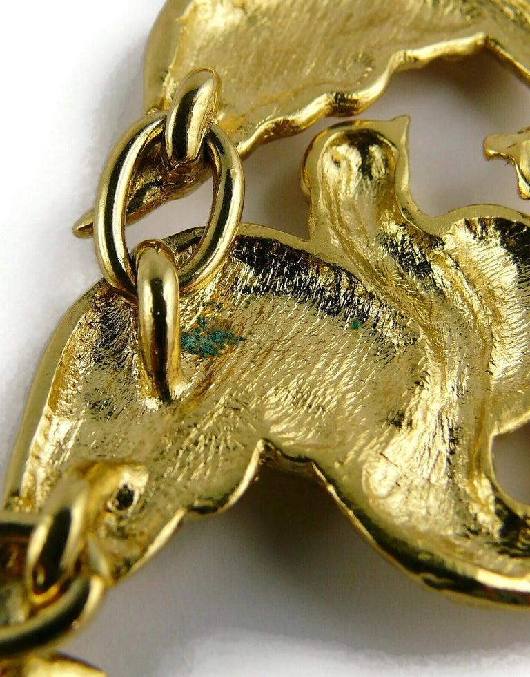Yves Saint Laurent YSL Vintage Gold Toned Bird Necklace For Sale 10