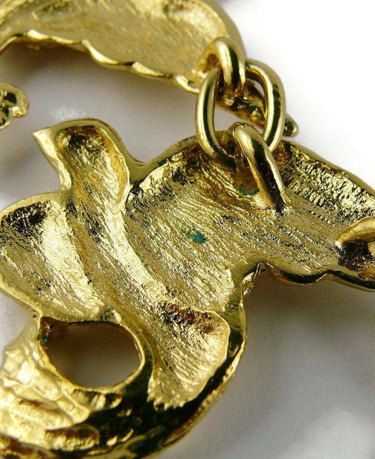 Yves Saint Laurent YSL Vintage Gold Toned Bird Necklace For Sale 11
