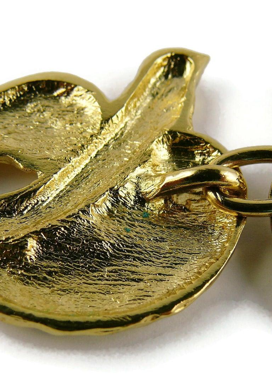 Yves Saint Laurent YSL Vintage Gold Toned Bird Necklace For Sale 12