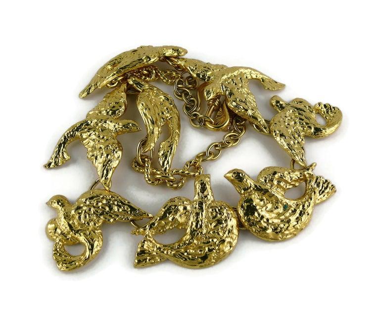 Yves Saint Laurent YSL Vintage Gold Toned Bird Necklace For Sale 5