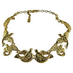 Yves Saint Laurent YSL Vintage Gold Toned Bird Necklace