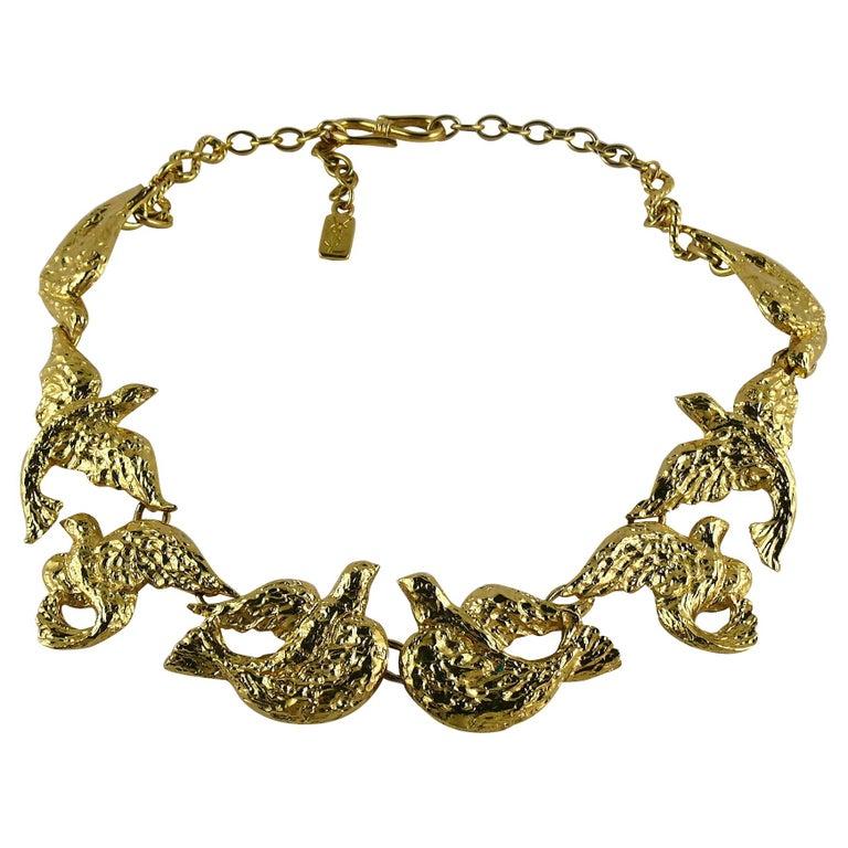 Yves Saint Laurent YSL Vintage Gold Toned Bird Necklace For Sale