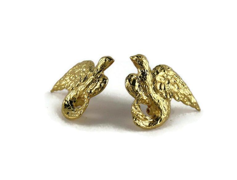 Women's Yves Saint Laurent YSL Vintage Gold Toned Birds Clip On Earrings For Sale