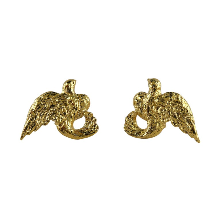 Yves Saint Laurent YSL Vintage Gold Toned Birds Clip On Earrings For Sale