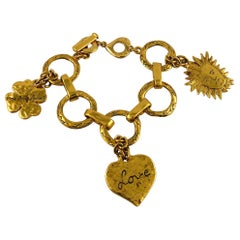 Yves Saint Laurent YSL Vintage Gold Toned Charm Bracelet