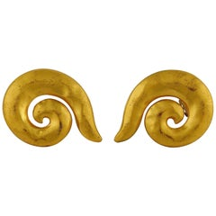 Yves Saint Laurent YSL Vintage Gold Toned Curl Clip On Earrings