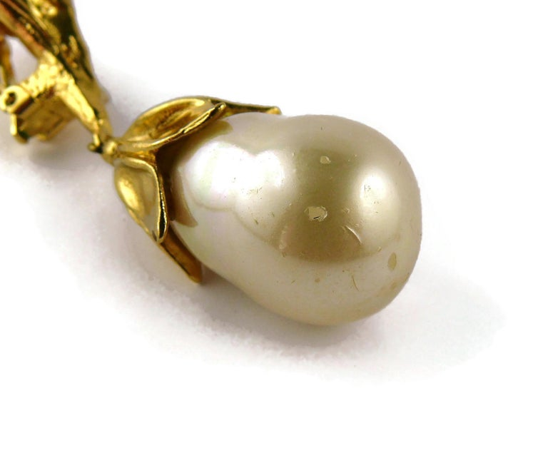 Yves Saint Laurent YSL Vintage Gold Toned Foliage Pearl Drop Dangling Earrings For Sale 7