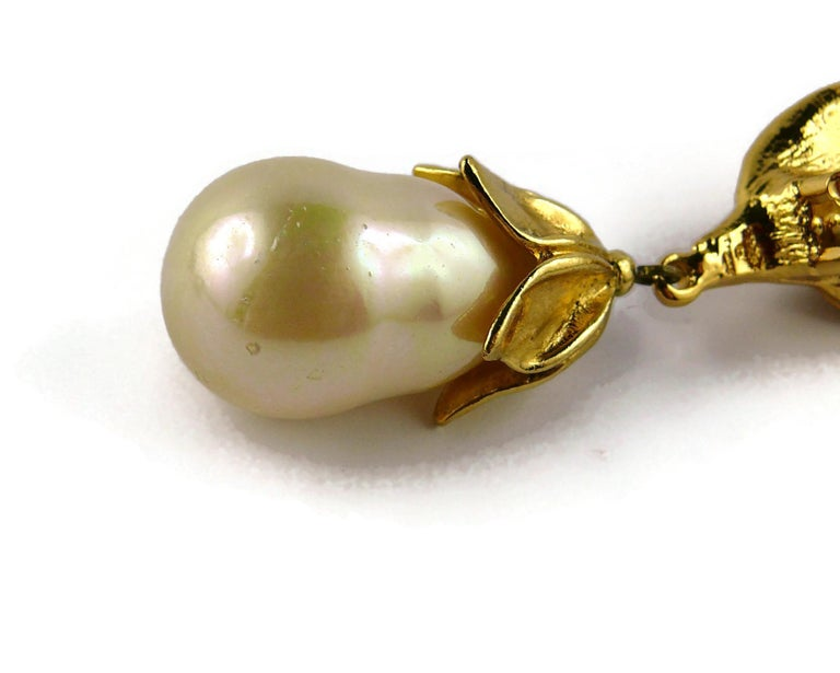 Yves Saint Laurent YSL Vintage Gold Toned Foliage Pearl Drop Dangling Earrings For Sale 10