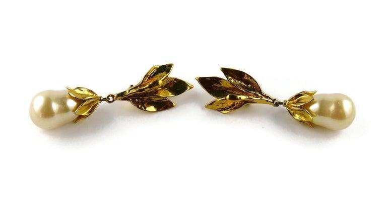 Women's Yves Saint Laurent YSL Vintage Gold Toned Foliage Pearl Drop Dangling Earrings For Sale