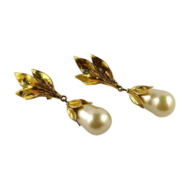 Yves Saint Laurent YSL Vintage Gold Toned Foliage Pearl Drop Dangling Earrings For Sale